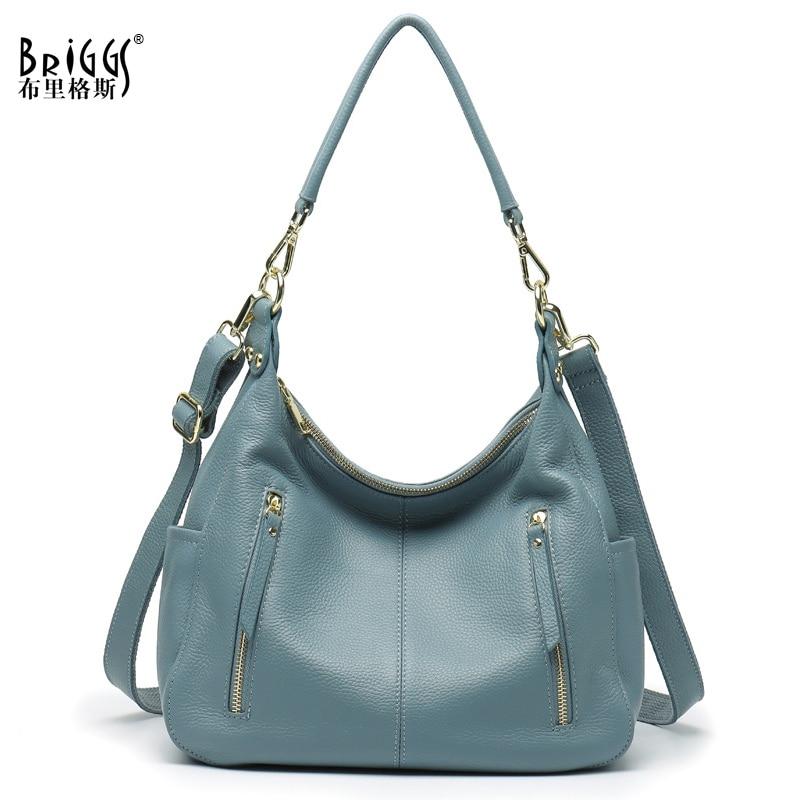 BRIGGS-حقيبة يد نسائية من الجلد الطبيعي الناعم ، حقيبة كتف ، تسوق ، نمط غير رسمي ، ذات نوعية جيدة ، عصرية ، كل يوم