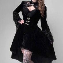 Minivestido Sexy de fiesta para señora, en negro y Vintage, de terciopelo, estilo gótico y Punk, elegante y calado con encaje