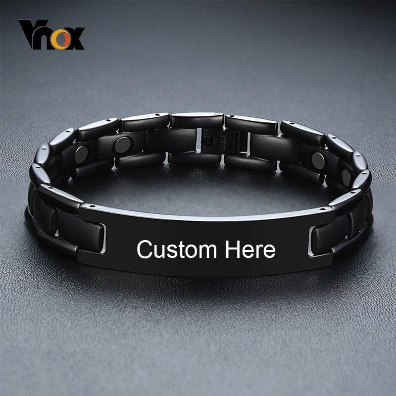 Pulseras Vnox de titanio negras con nombre personalizado para hombres, muñequera de imán para terapia, pulsera masculina informal