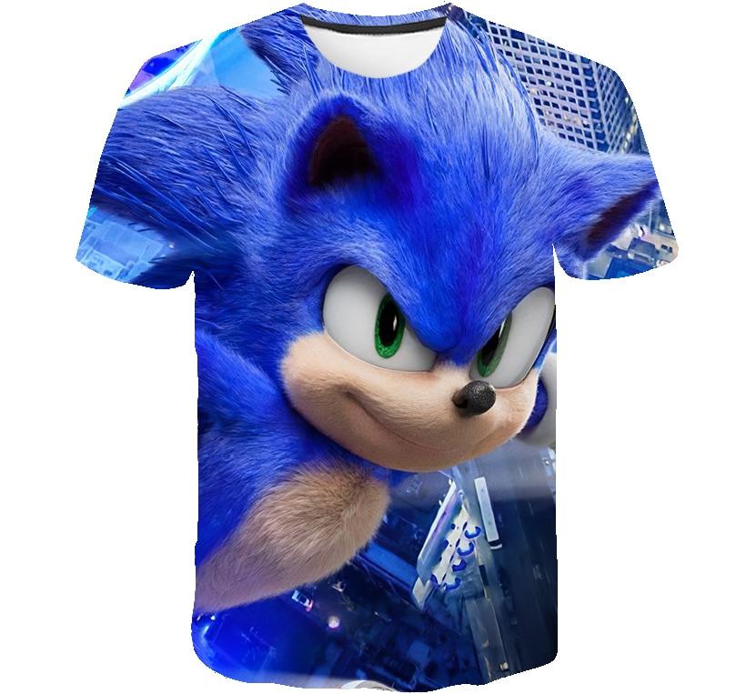 Verano bebé chicos 3D Sonic el erizo camiseta ropa de niños con caricaturas azul chicas Streetwear niños ropa bebé divertida camiseta traje