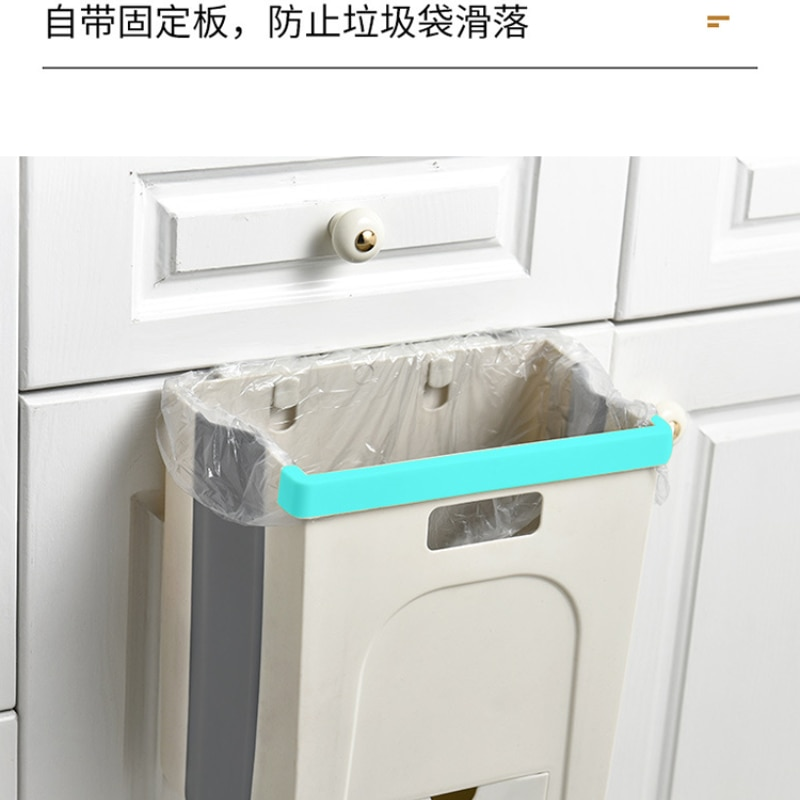 Folding Plastic Trash Can Small Modern Kitchen Recycle Trash Can Brown Deodorant Bote De Basura Kitchen Cabinet Storage EI50LJ enlarge