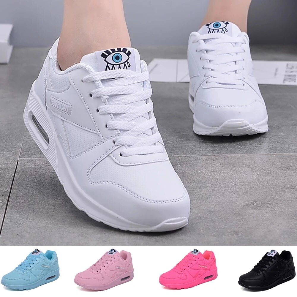 Fashion Women's Leather Sneakers Platform  Sports Shoes Spring Summer White Ladies BreathableTrainers Sneakers For Woman