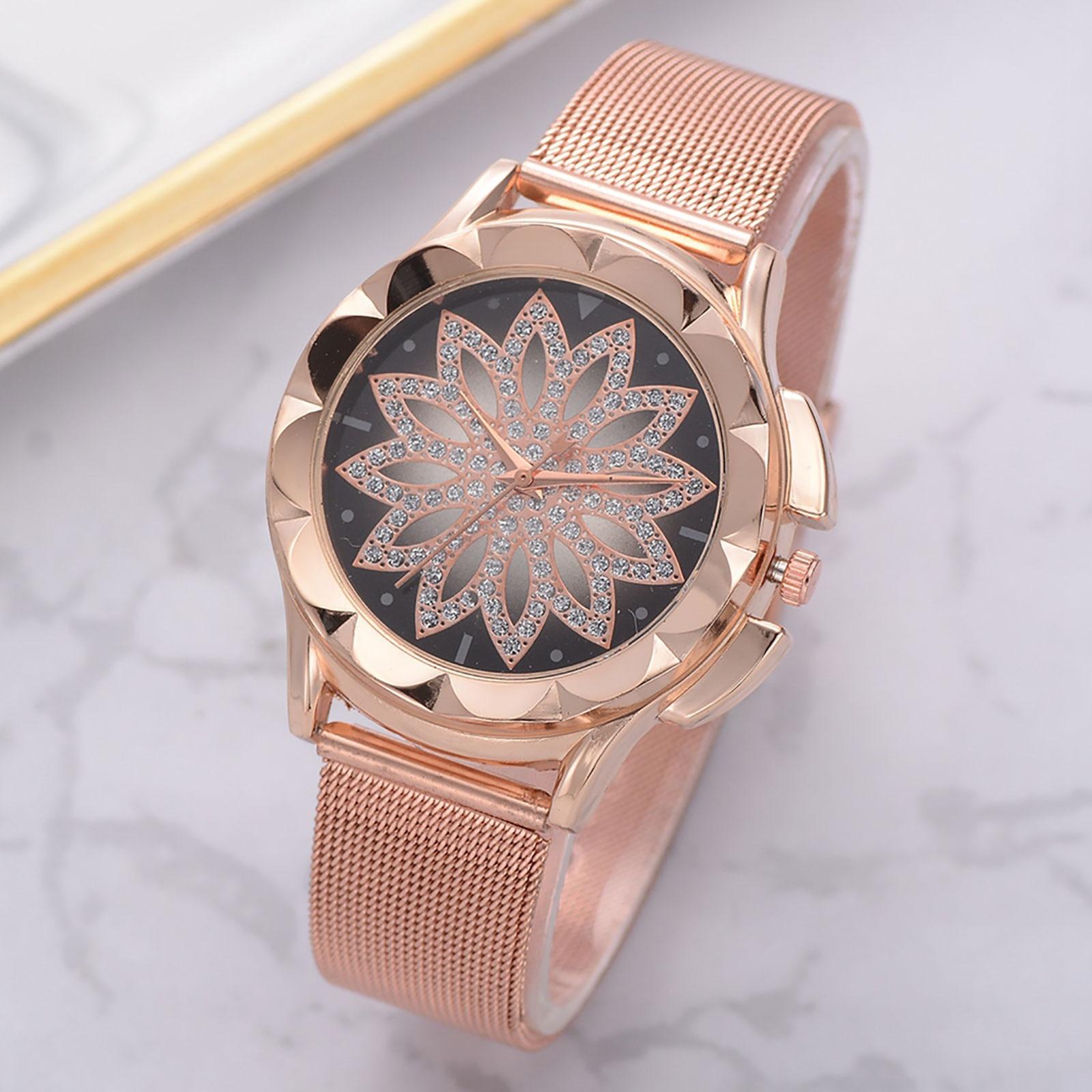 Occident Fashion Models Luxury Spin Good Luck Ladies Quartz Watches Stainless Steel Mesh Belt Watches Women Fashion Watch 2021