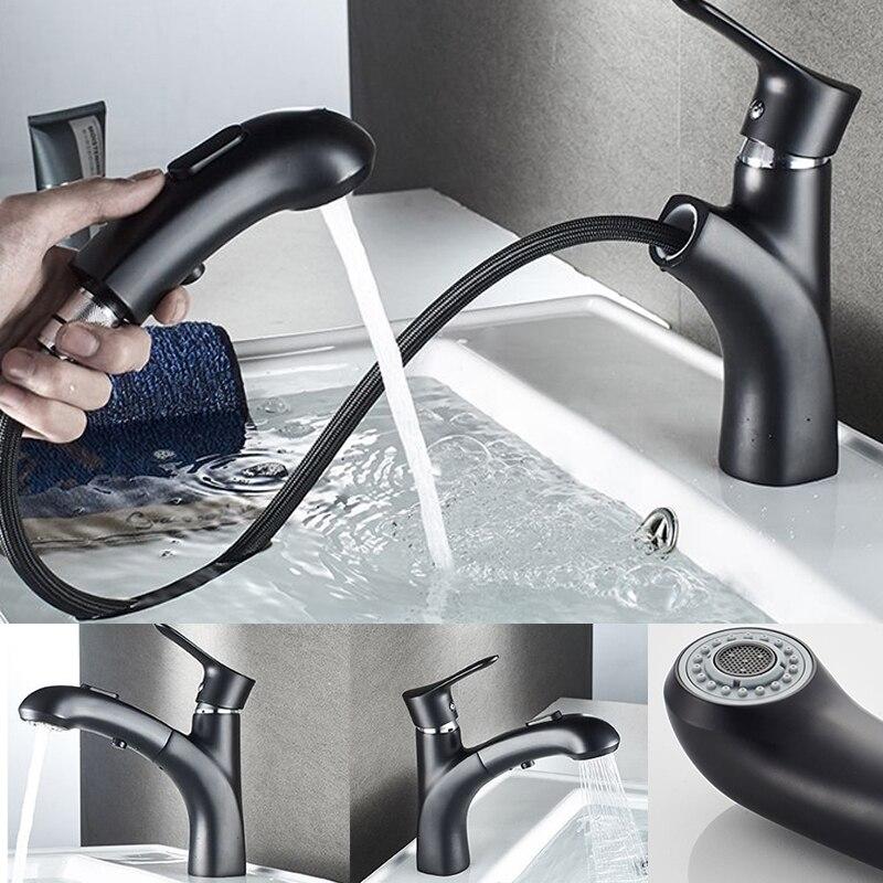 Grifos extraíbles Grifo de agua caliente Negro, Mezclador de Baño de latón,...