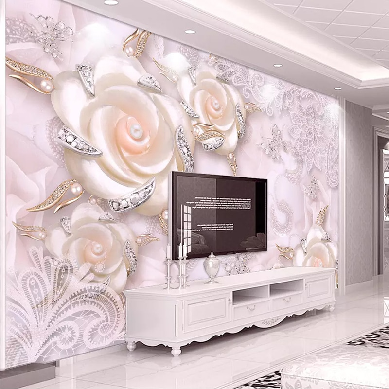 beibehang custom european damascus wallpapers for living room photo mural wall papers home decor 3d wallpaper for bedroom walls Custom Photo Wallpaper For Walls 3D Pink Flower Jewelry Pearl Wall Mural Living Room Bedroom TV Backdrop Wall Papers Home Decor