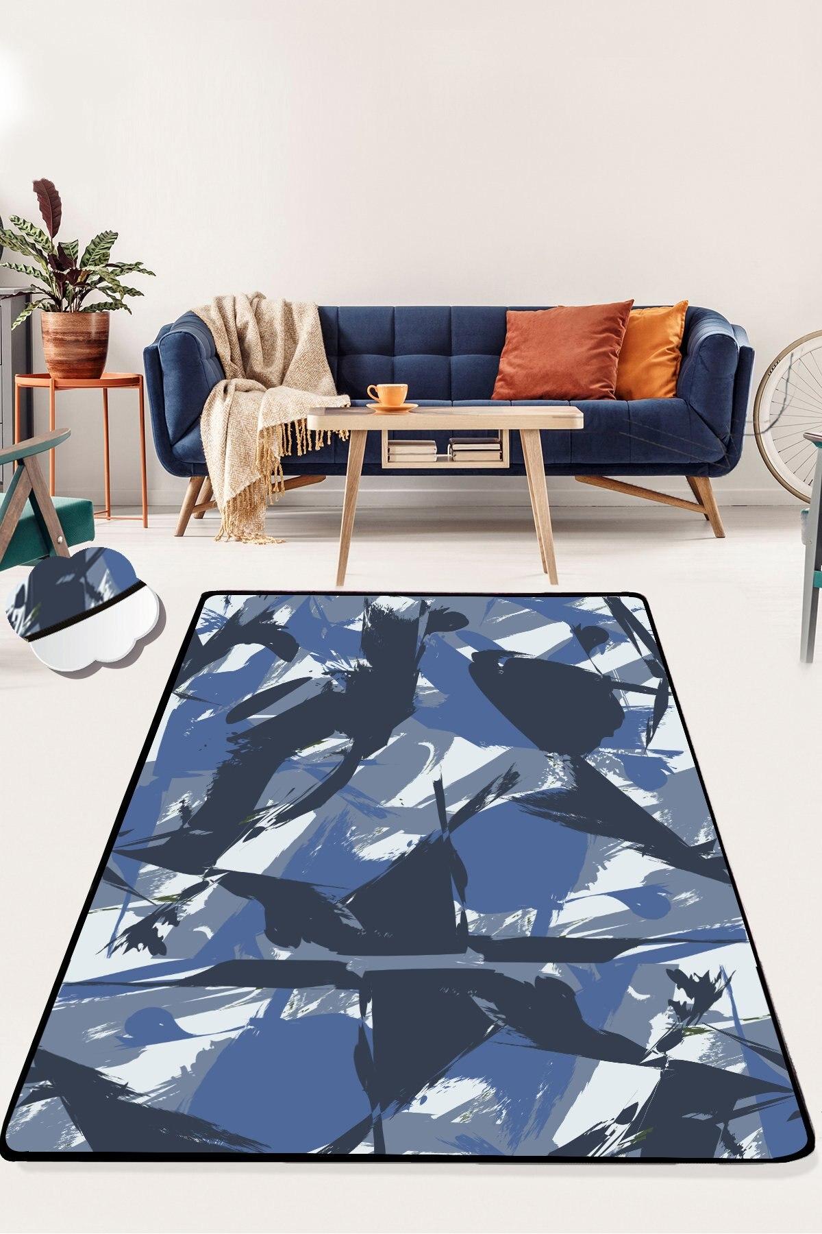 Etgديكور مجردة الأزرق نموذج 100x300 سم 40 ''x 118'' بوصة ديكور عدم الانزلاق منطقة البساط