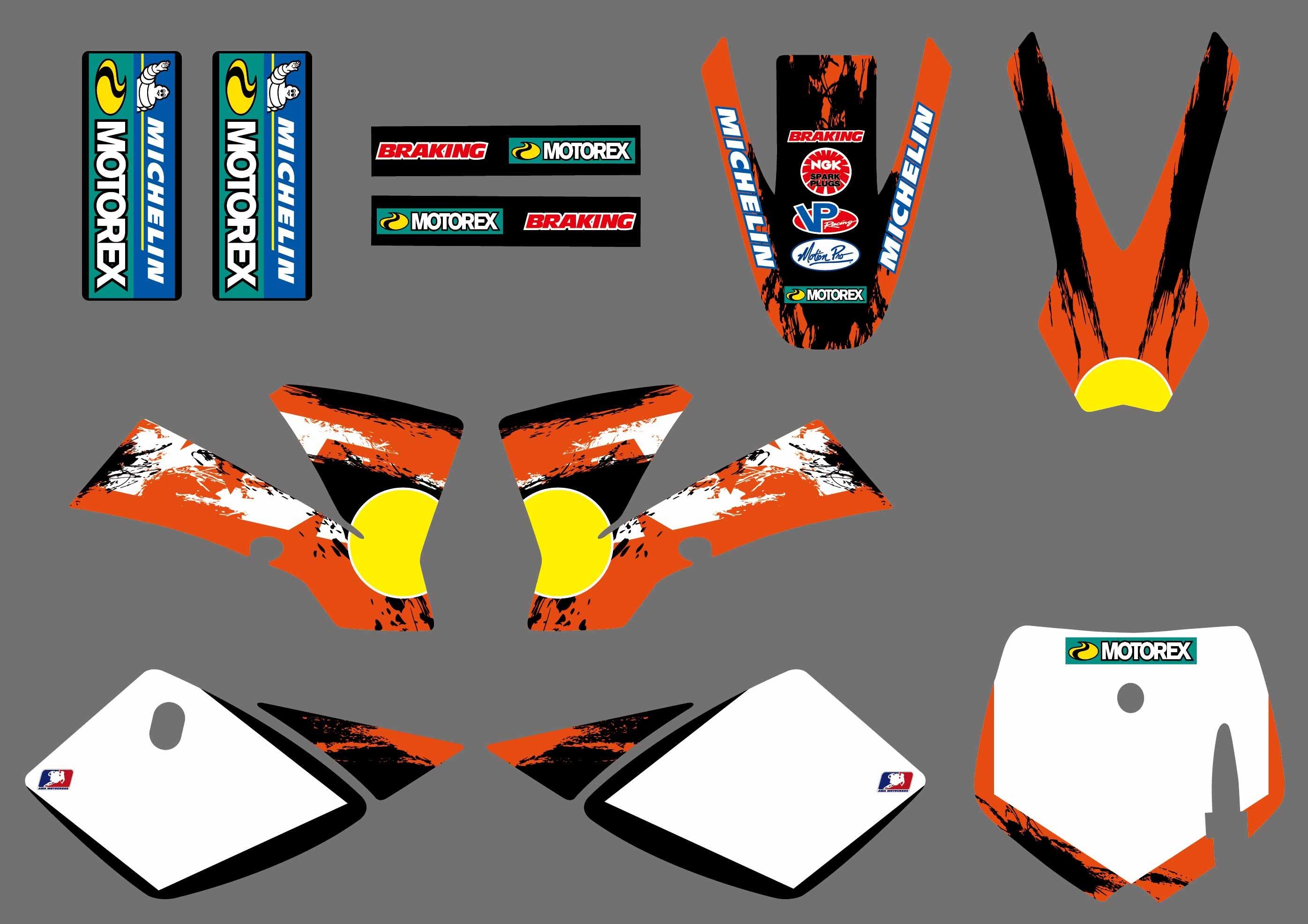 Moto équipe graphique décalcomanies autocollants déco ensemble pour KTM 50 SX50 SX 50CC MINI aventure MTK50 2002 2003 2004 2005 2006 2007 2008