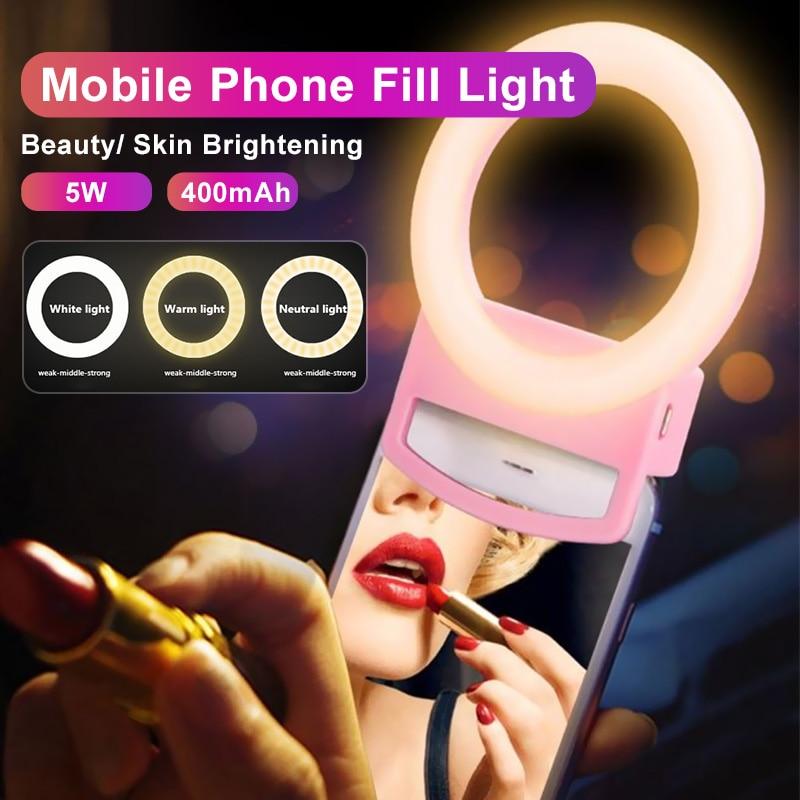 Tongdaytech LED Ring Fill Light Dimmable Phone Led Selfie Ring Lamp Photography For Makeup Video Live Aro De Luz Para Celular