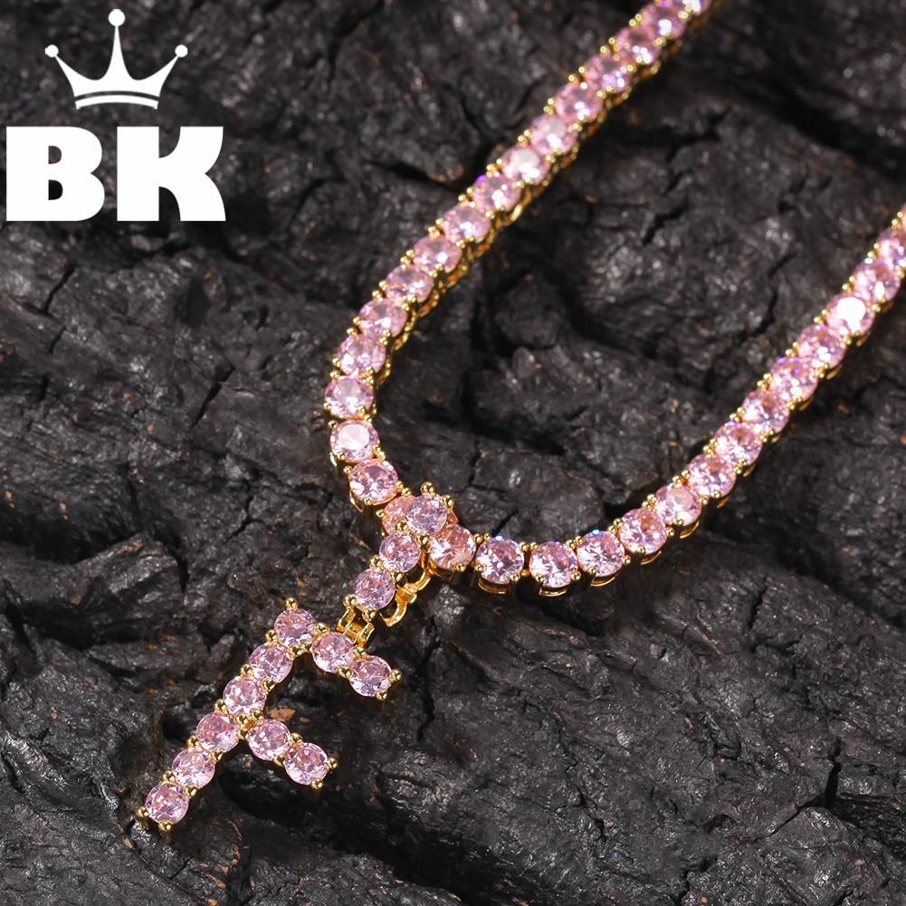 El BLING KING CZ personalizado tenis inicial letra Rosa colgante collar Iced Out Cubic Zirconia hombres mujeres joyería
