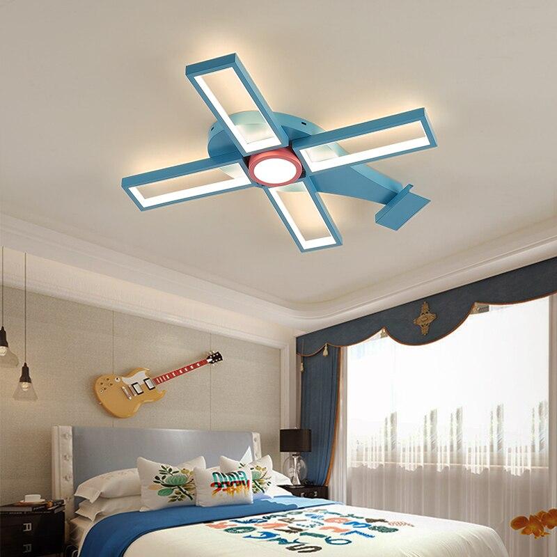 Lámpara moderna de araña de techo led para niños y niñas, dormitorio, aviones de dibujos animados, candelabro para habitación de bebé, lámpara infantil para jardín de infancia
