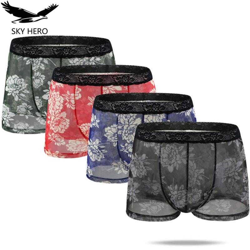4pcs Mens Satin Panties Boxers Respirant Hot Sexy Man Shorts Underwear Lingerie Calzoncillos Para Ho