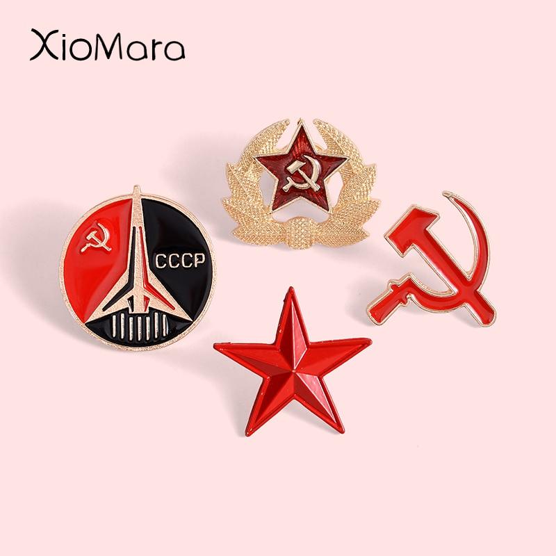 Símbolo retro da urss pino de esmalte estrela vermelha foice martelo guerra fria soviético cccp broche presente ícone emblema lapela pino para capa Broches    -