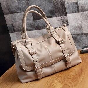 Luxury Leather Bags Women Casual Handbags 2019 Large Capacity Vintage Ladies Hand Bags Top-Handle Bag Solid Tote Sac Shoulder
