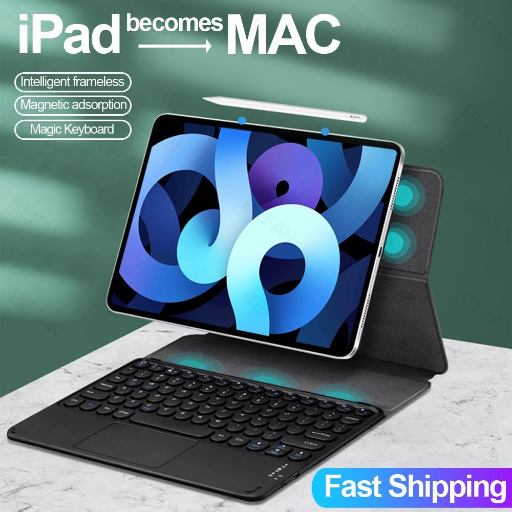 حافظة لجهاز iPad Pro 12.9 2021 M1 2018 iPad Pro 11 2020 Air 4 10.9 Magic Bluetooth Touchpad لوحة مفاتيح مغناطيسية رفيعة