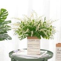 Bouquet de fleurs artificielles vertes  plantes en plastique pour mariage  pour la maison  Bar  salon  bricolage