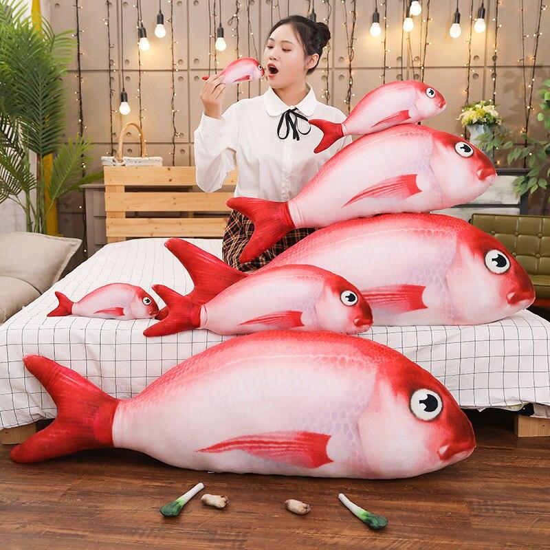 Nuevo 40-120cm de simulación Red rock almohada con pez de juguete de felpa suave animal relleno mascota gato muñeca de tamaño grande chico Kawaii realista regalo de Navidad