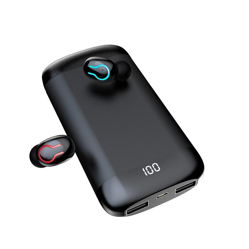 Q66 auriculares inalámbricos Bluetooth auriculares estéreo HD deportes impermeable BT 5,0 con micrófono Dual y funda de carga de batería 6000mAh