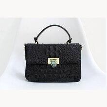 2021 new fashion luxury imported crocodile pattern 100% leather lady bag handbag shoulder messenger