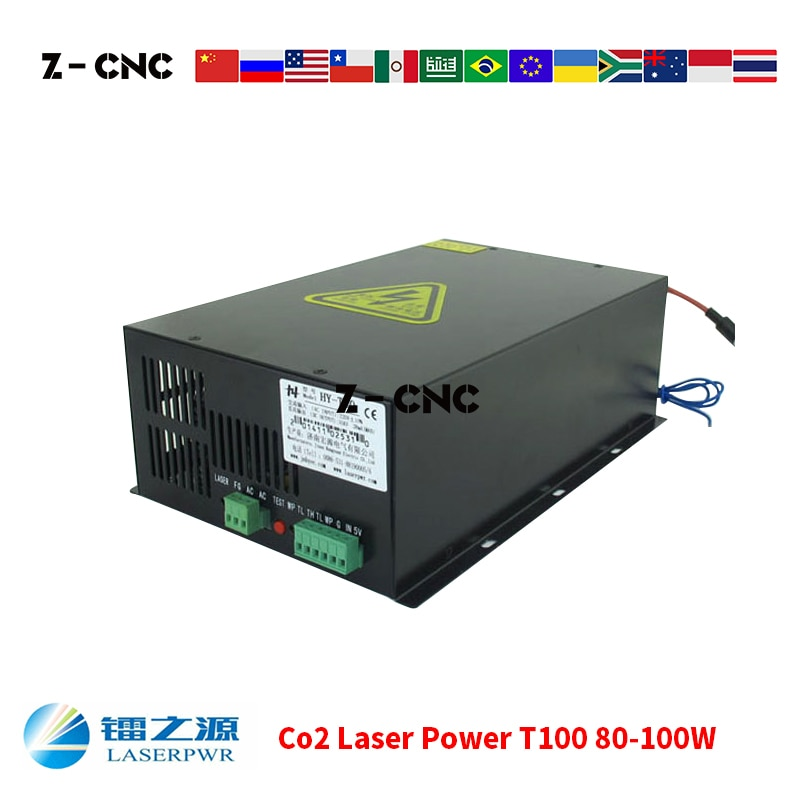 Co2 Laser Power T100 Supply Laser Machine Power for Co2 Laser Tube 80W 90W 100W Laserpwr Co2 Laser PSU HY Power Replace MYJG-100