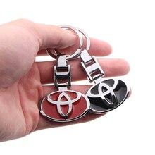 1 uds, llavero con diseño de coche, logotipo de coche, emblema, llavero, insignia con cadena TRD para toyota corolla chr auris rav4 yaris avensis