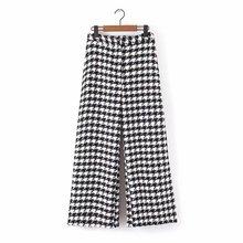 Женские Элегантные твидовые клетчатые широкие брюки, ломаную клетку, на молнии, с карманами, Женская офисная одежда, брюки