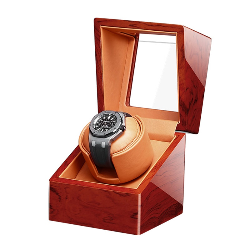 Top Single Watch Winder Motor Auto Self Winding 1 Brown Wooden Watches Box Storage Cabinet Lacquer C