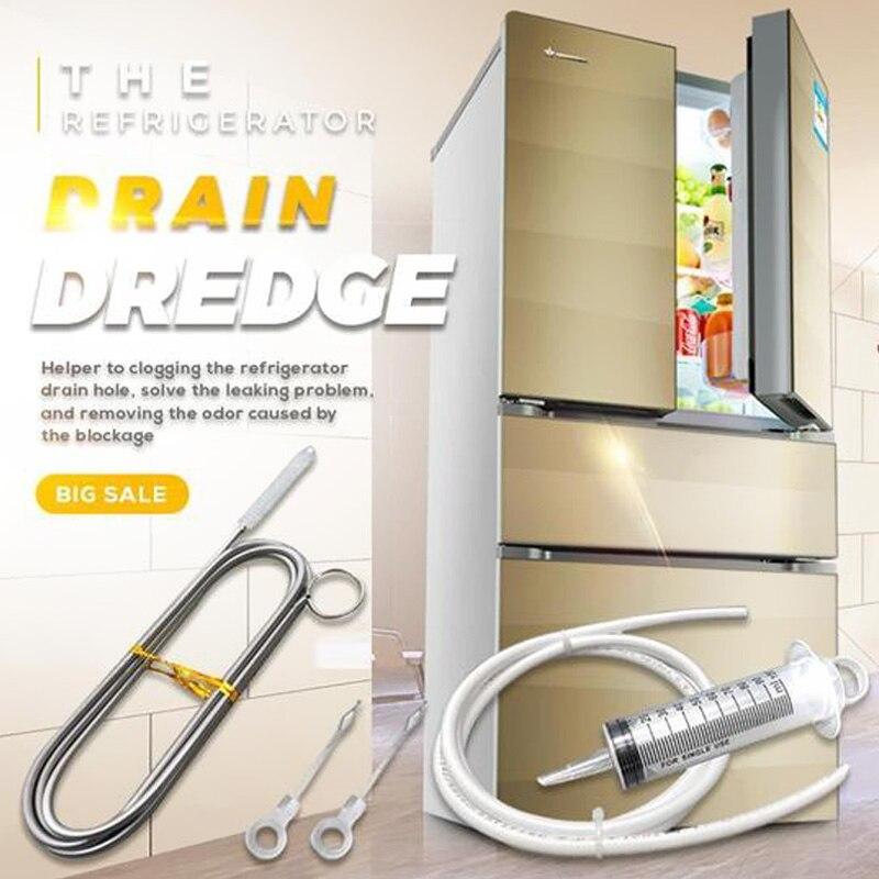Набор для очистки дренажных снастей холодильника, длинная ручка, дренажные снасти холодильника, гибкая катушка для пилинга холодильника