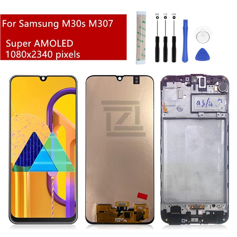 OLED لسامسونج M307 LCD عرض M30s شاشة تعمل باللمس محول الأرقام الجمعية + إطار SM-M307FN/DS استبدال إصلاح أجزاء 6.4
