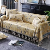 birds printed tassels 3 seater couch cover for recliner sofa chair single loveseat sofa covers for living room sofa towel yellow