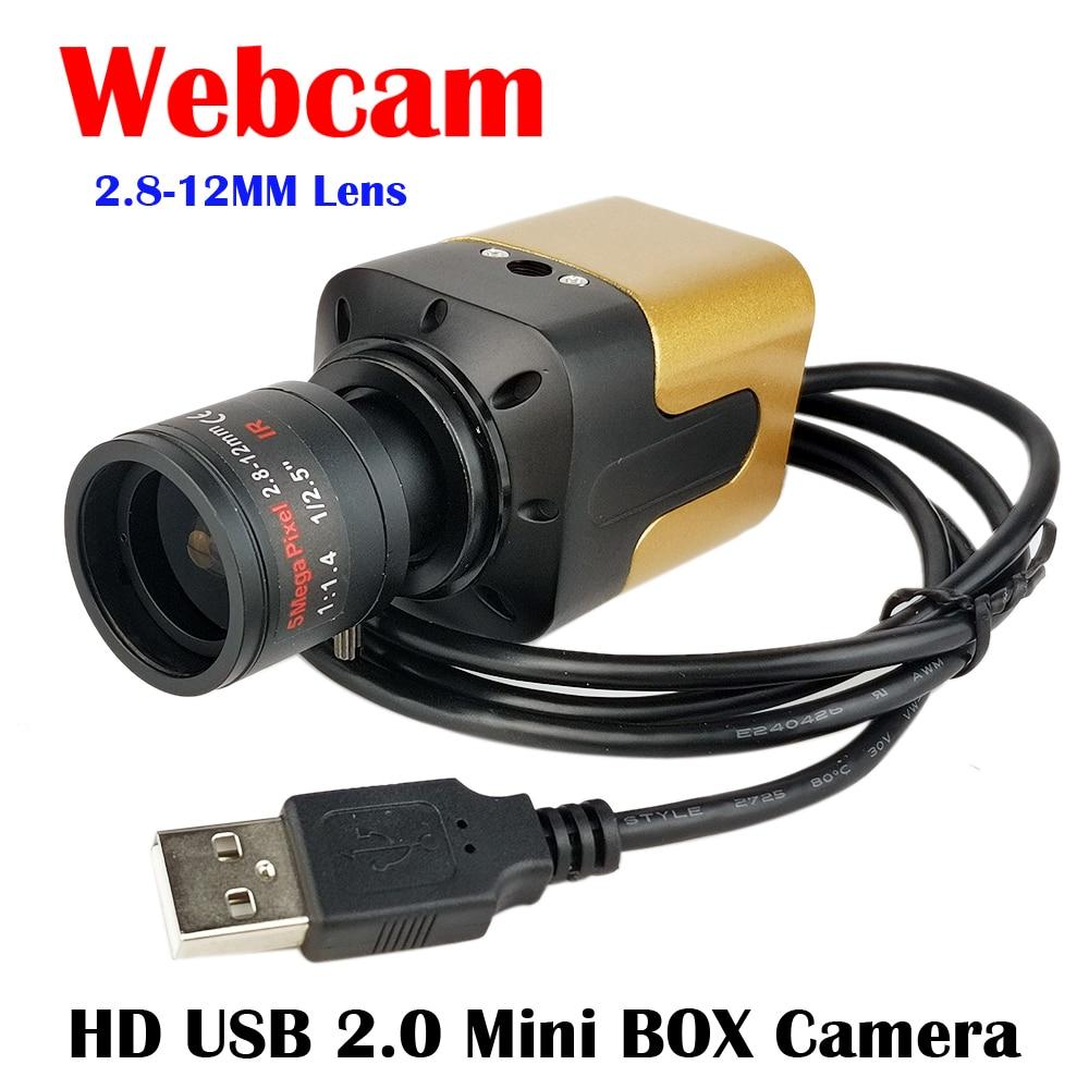 CCTV USB Cámara, lente de distancia focal variable de 2,8-12MM Mini caja de cámara de alta velocidad Webcam MJPEG 1080P 60fps / 720P 120fps cámara USB