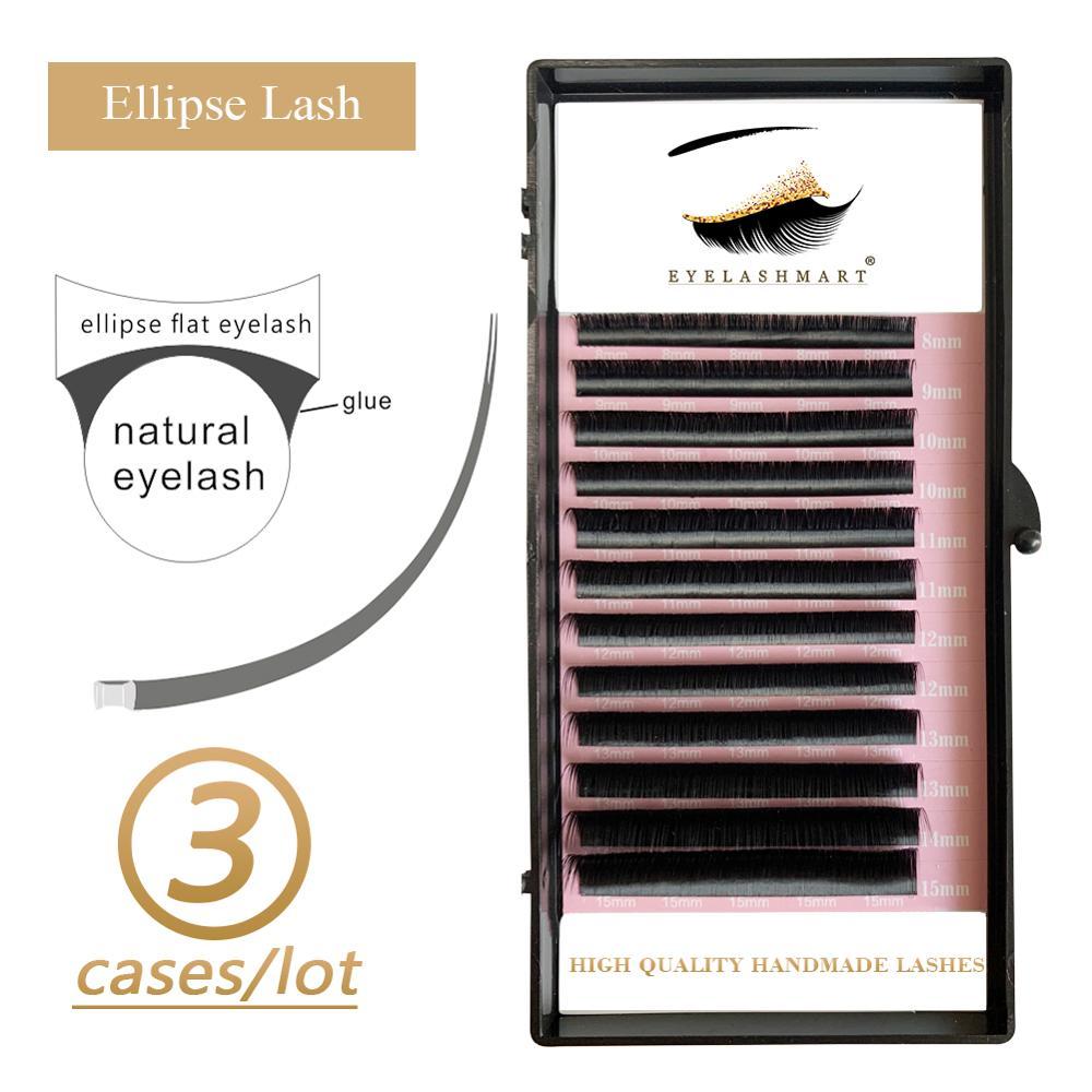 3 estuches Eyelashmart elipse plano extensiones de pestañas Split Tips elipse forma Natural luz falsa elipse pestañas suministros