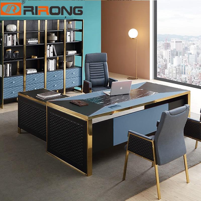 Azul Rojo de lujo moderno muebles de oficina en casa diseño oro mesa de cuero de la computadora conjunto de mesa Oficina mesa de pie escritorio con cajón