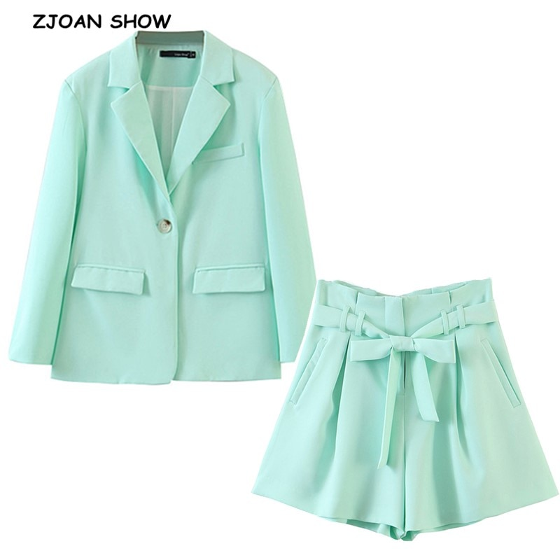 2020 CHIC Ice cream Blazer mujer Retro alta cintura Tie Bow con lazo pantalones cortos bolsa de papel pantalones cortos trajes de manga larga conjunto de 2 piezas