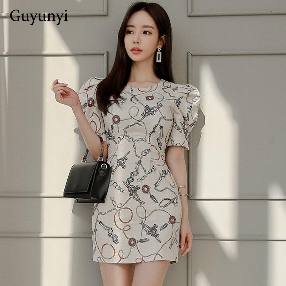 Korean Slim Party Dress 2020 Summer High Waist Simple O-Neck Puff Sleeve Fashion Pattern Elegant Women's Dresses