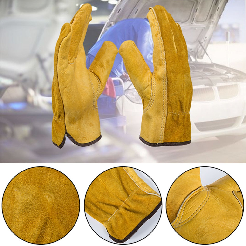 1 Pair Gardening Leather Gloves Anti-scald Wear-resistant Tearing-resistant Puncture Proof Unisex Work Gloves