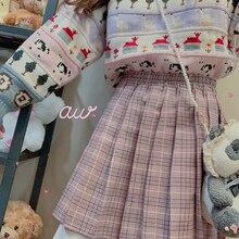 Printemps femmes doux Harajuku Plaid jupe plissée jeune fille étudiant taille haute rétro princesse jupe courte Mori fille collège style
