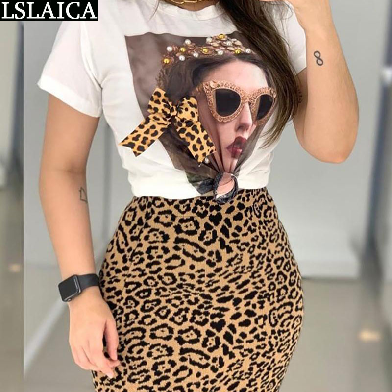 Two Peice Set For Women Casual O-Neck T Shirt& Skirt Set Fashion Leopard Print Office Women Set Elegance Skinny Ropa Femenina
