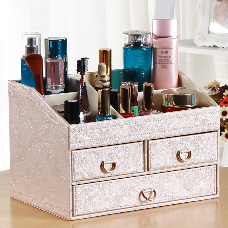 سطح المكتب صندوق تخزين مستحضرات التجميل درج ماكياج المنظم العناية بالبشرة غرفة نوم المجوهرات العضوي Maquillage تخزين الحاويات