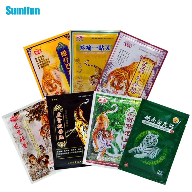 AliExpress - 8Pcs/bag of 7 Different Types Tiger Balm Plaster Joint Arthritic Body Pain Relieving Pain Relief Patch Medical Ointment