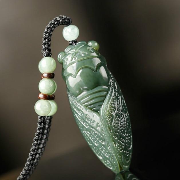 Кулон Цикада из натурального нефрита, ожерелье с бусинами и подвеской, модные аксессуары, ручной резной амулет, подарки для женщин и мужчин