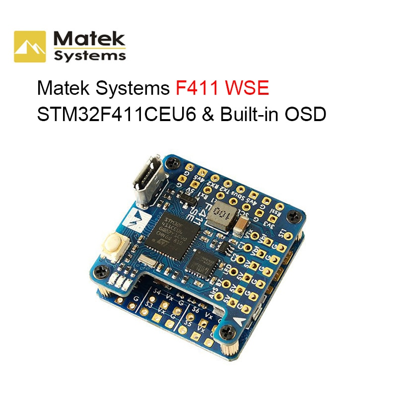 Matek Systems F411 WSE STM32F411CEU6 Built-in OSD 2-6S Flight Controller for RC FPV Racing Drone RC