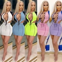 knit ribbed patchwork matching sets lace up long sleeve asymmetrical top and skirt two piece outfits skinny partywear