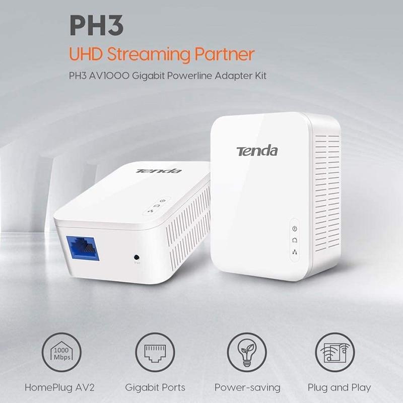 1Pair Tenda P3 AV1000 Gigabit Powerline Adapter Up to 1000Mbps PH3 Ethernet PLC Homeplug for Wireless Router Partner IPTV