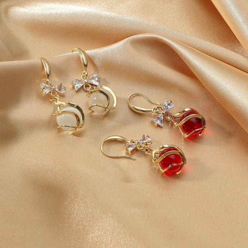 Pendientes de ópalo de Nuevo rojo de moda coreana, con arco suave...