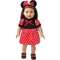 18 inch american doll girls clothes red polka dot mouse ears dress skirt born baby toys accessories fit 43 cm boy dolls d27