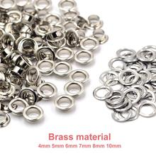 100sets Brass Material Silver 4mm 5mm 6mm 7mm 8mm 10mm Grommet Eyelet With Washer Fit Leather Craft