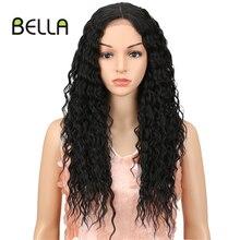 Parrucca riccia Bella parrucca anteriore in pizzo sintetico biondo colore HD pizzo 26 pollici parte centrale Afro crespo parrucche ricci per donne nere Cosplay