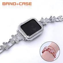 Cinturino in acciaio inossidabile con diamanti + custodia per cinturino Apple Watch 42mm 38mm bracciale da donna per IWatch 40mm 44mm serie 6 SE 5 4