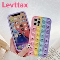 3d bear toys push pop bubble back case for iphone 12 11 pro max soft silicone cover for iiphone x xr xs 6 6s 7 8 plus se2020