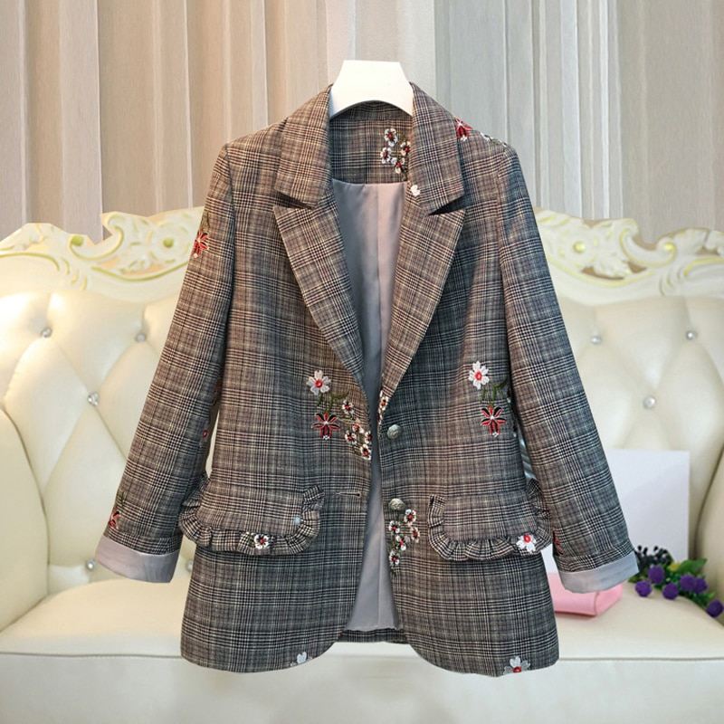 Suit Jacket Fashion Elegant Floral Embroidery Coat Women Single Breasted Korean Style Female Blazer Top Large Size
